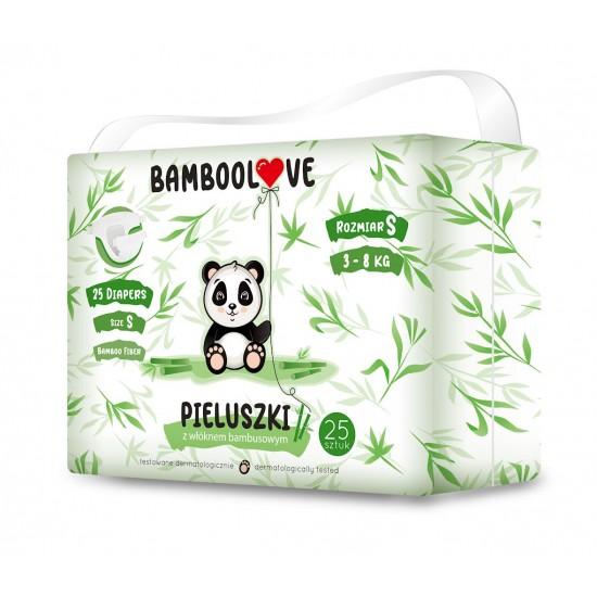 PIELUCHY Z WŁÓKNEM BAMBUSOWYM ROZMIAR S 3 - 8 kg (25 szt.) - BAMBOOLOVE