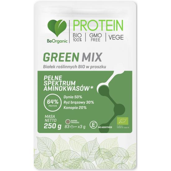 BIAŁKO ROŚLINNE GREEN MIX W PROSZKU BIO 250 g - BE ORGANIC