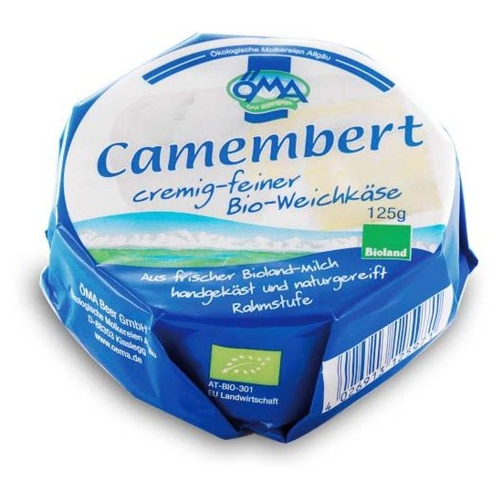 SER CAMEMBERT BIO (50% TŁUSZCZU W SUCHEJ MASIE) 125 g - OMA