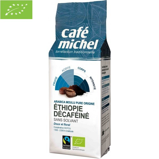KAWA MIELONA BEZKOFEINOWA ARABICA 100% ETIOPIA FAIR TRADE BIO 250 g - CAFE MICHEL