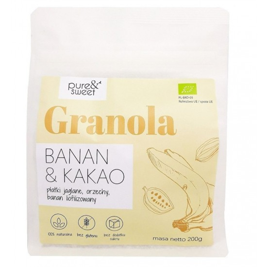 GRANOLA BANAN&KAKAO BEZGLUTENOWA BIO 200 g - PURE&SWEET