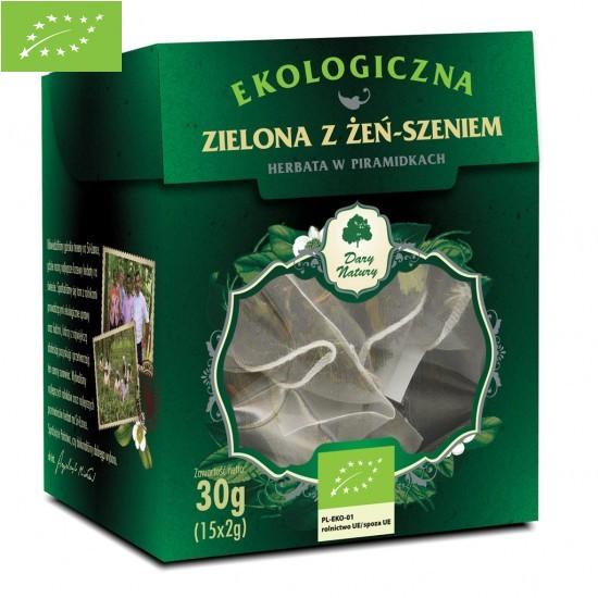 HERBATA ZIELONA Z ŻEŃ-SZENIEM PIRAMIDKI BIO (15 x 2 g) - DARY NATURY