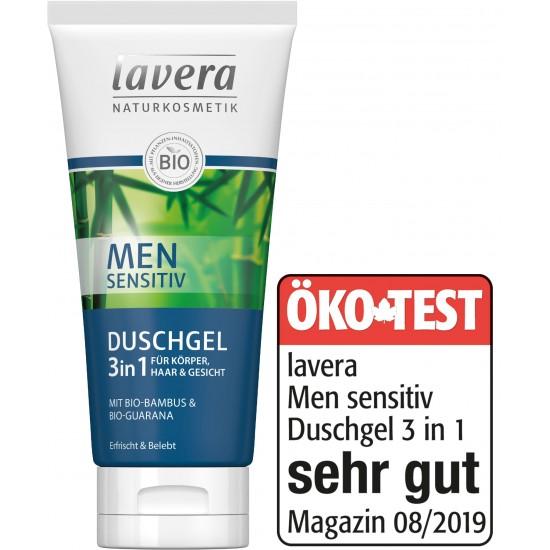 Szampon do włosów 3 w 1 MEN sensitive z wyciągiem z bio-bambusa i bio-guarany 200ml – LAVERA