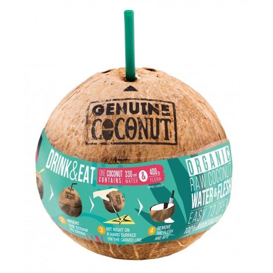 KOKOS BIO ZE SŁOMKĄ 750 g - GENUINE COCONUT